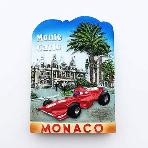 Monte Carlo, Mónaco, Circuito F1, Souvenirs Turísticos, Resina 3D Imán de Nevera DIY. Decoración del hogar de Cocina, Mensaje imán.