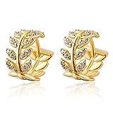 YEAHJOY orecchini da donna a cerchio a forma di foglia, placcati in oro da 14 k con strass brillanti