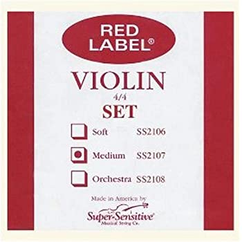 Super Sensitive 2107F Red Label Medium Gauge Violin String Set - E Flat Wound - Nickel - 4/4