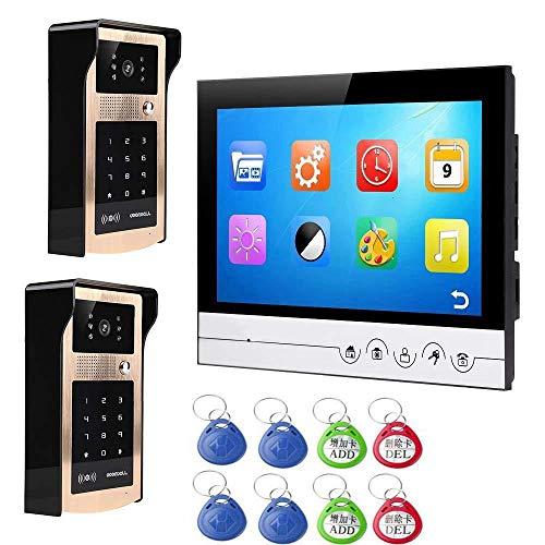 Video-deurbelsysteem bedrade deurbelsysteem met intercominstallatie 9 inch nachtzichtbel 2 camera's met 1 display activering/wachtwoord B, B