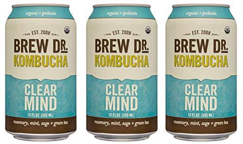 Brew Dr Clear Mind Raw Organic Kombucha, 12 Fl oz Cans (3 Pack)