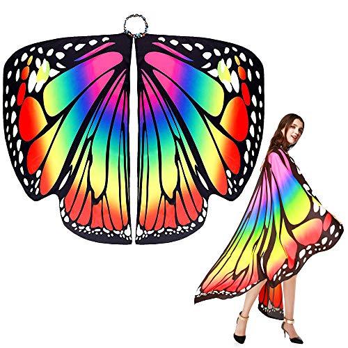 EMAGAREN Damen Schmetterling Kostüm Schmetterlingsflügel für Frauen Schmetterling Schal Flügel Tuch Erwachsene Poncho Umhang Nymphe Pixie Kostüm Cosplay Tanzkostüm für Show/Daily/Party (168 * 135cm)