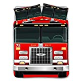 BIGCARJOB 3D Fire Truck Print Bedding Set for Kids Adults, 3 Piece Ultra-Soft Cotton Quilted Comforter Cover with 2 Pillowcase Black Lining Twin Size 68x88inches