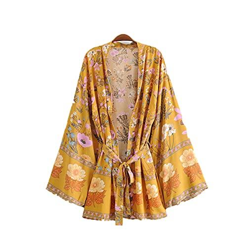 WJJKSLAOQ Camisa Kimono con Estampado Floral Y Cuello En V Amarillo Bohemio para Mujer, CáRdigan De Longitud Media con Lazo En La Playa