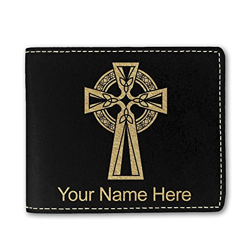 Faux Leather Wallet, Celtic Cross, Personalized Engraving Included (Black)