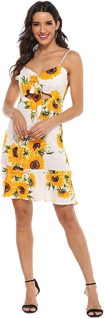 Family Matching Dress Mommy & Me Girl Women Dresses Boho Sling Sunflower Printed Flower Casual Summer Beach Dress Outfit