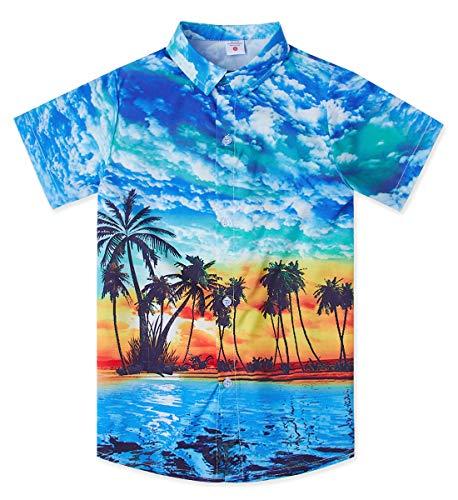 uideazone Casual Tropical Vacation Aloha Short Sleeve Printed Palm Tree Hawaiian Shirt Holiday Retro Cute Button Down Shirt Hawaiian Wear Blue
