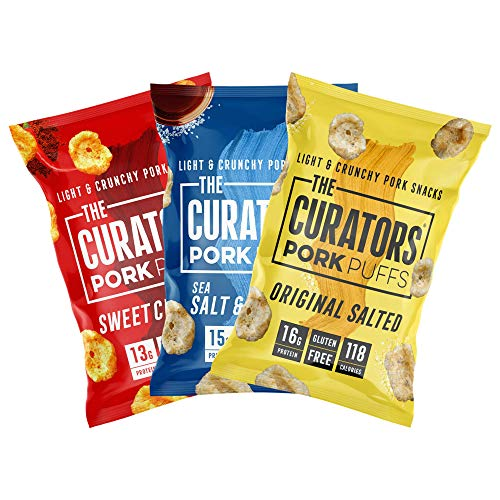 THE CURATORS Pork Puffs - Variety Pack, 22g (12 Packs) - High Protein Low Carb Keto Savoury Snacks with Crunch, Salt & Vinegar, Original Salted & Sweet Chilli BBQ