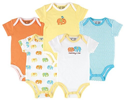 Luvable Friends Baby Infant 5 Pack Bodysuits, Elephant, 18M(12-18 Months)