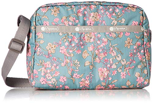 LeSportsac Laelia Moss Daniella Crossbody Handbag, Style 2434/Color F428, Light Teal Green/Turquoise Bag w Multi-color Laelia Orchids