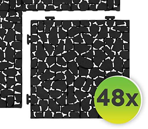 Generisch FairFox Garten Klickfliesen Black Stone I Umweltfreundlich aus 100% Recycel-Kunststoff I Ideal als Balkon Bodenbelag oder Terrassenplatten I Terrassen- & Balkonboden [48 STK.]