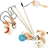 Carykon - Varita de sisal natural para gato con ratón/calabaza/juguete de pescado, campana, pluma, cuerda elástica y barra de madera resistente, juego de 3