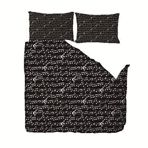 RGBVVM Påslakan dubbelsäng 89 x 89 tum svart sängklädesset med 2 örngott 50 x 75 cm, ultramjuka mikrofiber-täcken sängar med smidig blixtlåsstängning påslakan