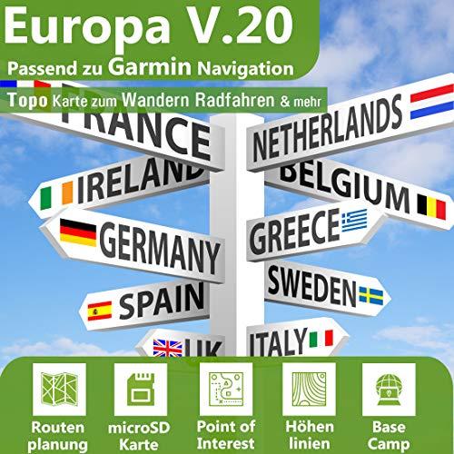 Europa V.20 - MAC Version - Profi Outdoor Topo Karte passend für Garmin Navigation - Zum Wandern, Geocachen, Bergsteigen, Fahrrad, Radfahren, Radtour - MAC Version