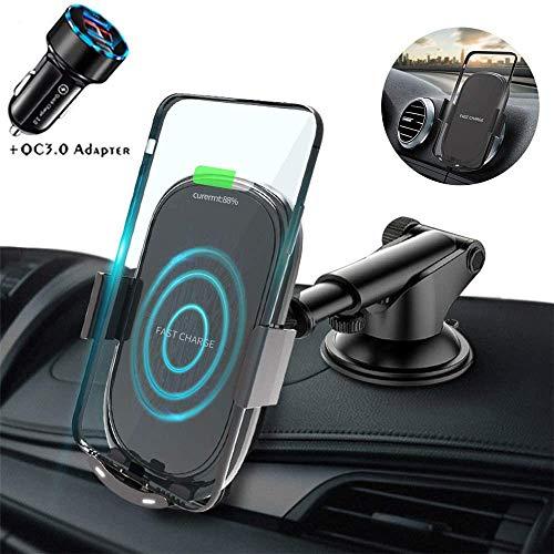 LY88 Qi bezprzewodowy uchwyt do ładowarki samochodowej, automatyczne mocowanie telefon komórkowy wentylacja i przednia szyba deska rozdzielcza uchwyt samochodowy, do Samsung/IPhone 11/11 Pro/XS/XR/X