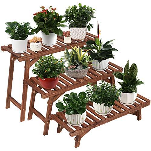 Ufine Freestanding 3 Tier Ladder Shelf Wood Plant Stand Indoor Outdoor Plant Display Rack Flower Pot...