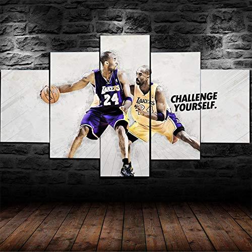 IKLOP 5 Piezas De Lienzo Jugador De Baloncesto Cuadros XXL Lienzos Decorativos Grandes Modernos Mural Fotos para Salon Dormitorio Baño Comedor Aniversario 150X80Cm