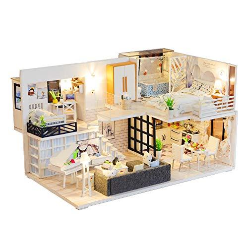 DIY Haus Kinder Holzhaus Puppenhaus Miniatur Mit Möbeln, Idee DIY Hölzernes Puppenhaus-Kit,Maßstab 1:24 Kreativraum Mit 2 LED-Leuchten