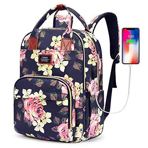SOCKO Laptop-Rucksack für Damen, Blumenmuster, Wanderrucksack, Nylon, Reiserucksack mit USB-Ladeanschluss, wasserabweisend, Schulrucksack, passend für 15,6 Zoll Laptop (Pfingstrosenblume)