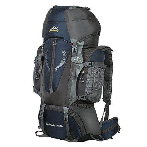 HWJIANFENG Zaini 80+5L Sportivi Unisex in Nylon Poliestere da Trekking Borse per Outdoor Campeggio Escursionismo Viaggi Blu Scuro
