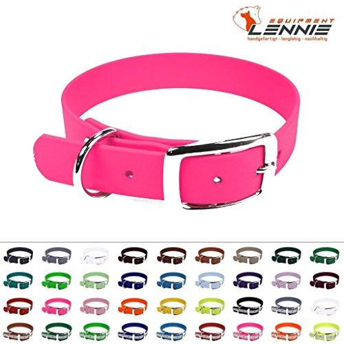 LENNIE BioThane Halsband, Dornschnalle, 25 mm breit, Größe 32-40 cm, Neon-Pink, Aufdruck möglich
