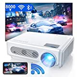 WiMiUS S6 Native 1080P WiFi Bluetooth Projector, 8000L HD Home & Outdoor Wireless Phone Projector Support 4K / Max Zoom 50% / Keystone, Led Movie Projector for Fire Stick, HDMI, USB,TV Box, Laptop