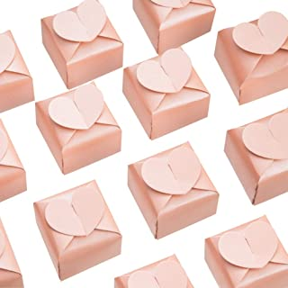 AWELL Pink Favor Box Bulk 2.5x2x2.5 inches with Heart Bow Party Favor Box,Pink,Pack of 50