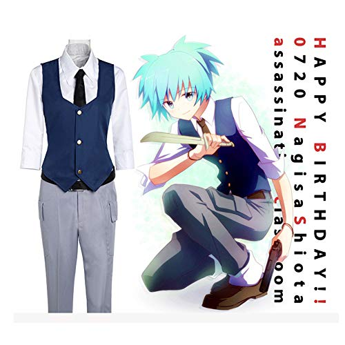 GGOODD Anime Assassination Classroom Shiota Nagisa Unisex Cosplay Costume Set Servicio Diario Uniforme estudiantil Traje 5 Piezas Set de Halloween,S