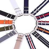 ZAJ Uhrenarmband-Bügel Flexibles justierbares atmungsaktiv Staubdichtes Nylon-Armband Armbanduhr Bänder Zubehör for Office Gym Ferien (Band Color : BH, Band Width : 20mm)
