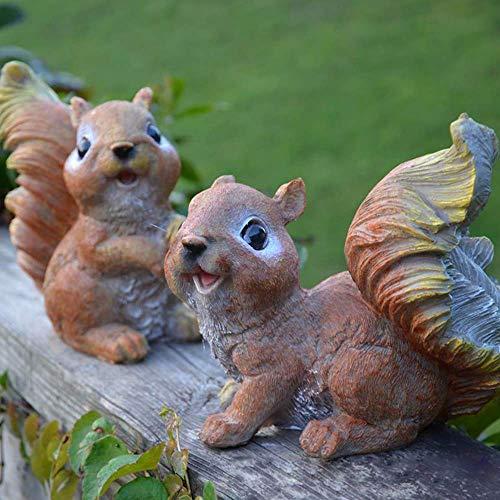 HOMMERY 2 Stück Polyresin Eichhörnchen-Figuren Garten Statuen für Outdoor Dekor oder Rasen Ornamente, 15,5 cm H