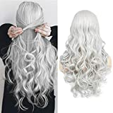 Women's Long Curly Wavy Silver Gray Wigs Cosplay Costume Halloween Wigs Synthetic Middle Parting Replacement Wig with Wig Cap