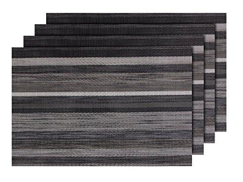 Lot de 4 Sets de Table rayé (TS-110) Design Moderne pour décoration Sympa de qualité supérieure en PVC tressé: 45 x 30 cm. Le Set de Table a Un bel Aspect avec sa matière tissée et Brillante Élégante