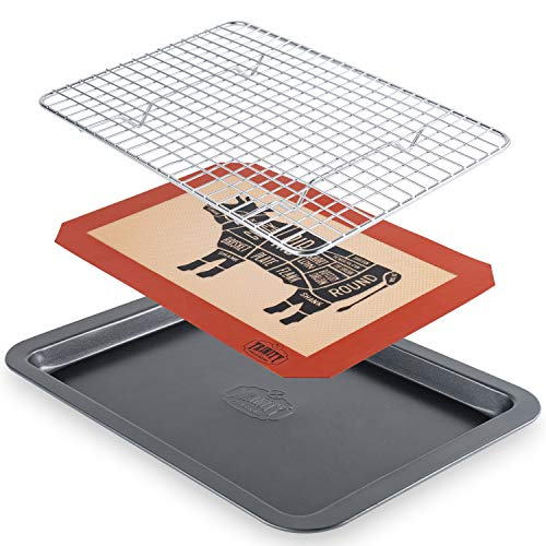 Trinity Provisions Meat Resting Pan - With Wire Rack and Silicone Baking Mat - Dishwasher and Oven Safe Stainless Steel, for Cooking and Cooling Steak, BBQ, Bacon, & More