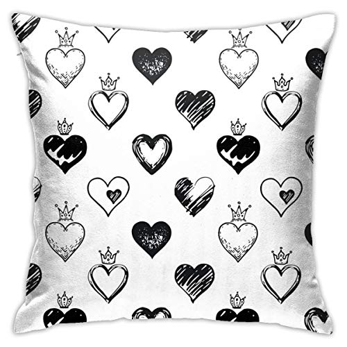 "Find Bargain Juliet store Hearts Pattern Hand Drawn Sketch1 Pillowcase Pillow Sofa Home Decor Cushion Square 18″"" X 18″"" Inch"
