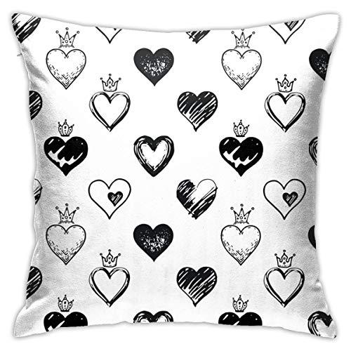 Find Bargain Juliet store Hearts Pattern Hand Drawn Sketch1 Pillowcase Pillow Sofa Home Decor Cushio...