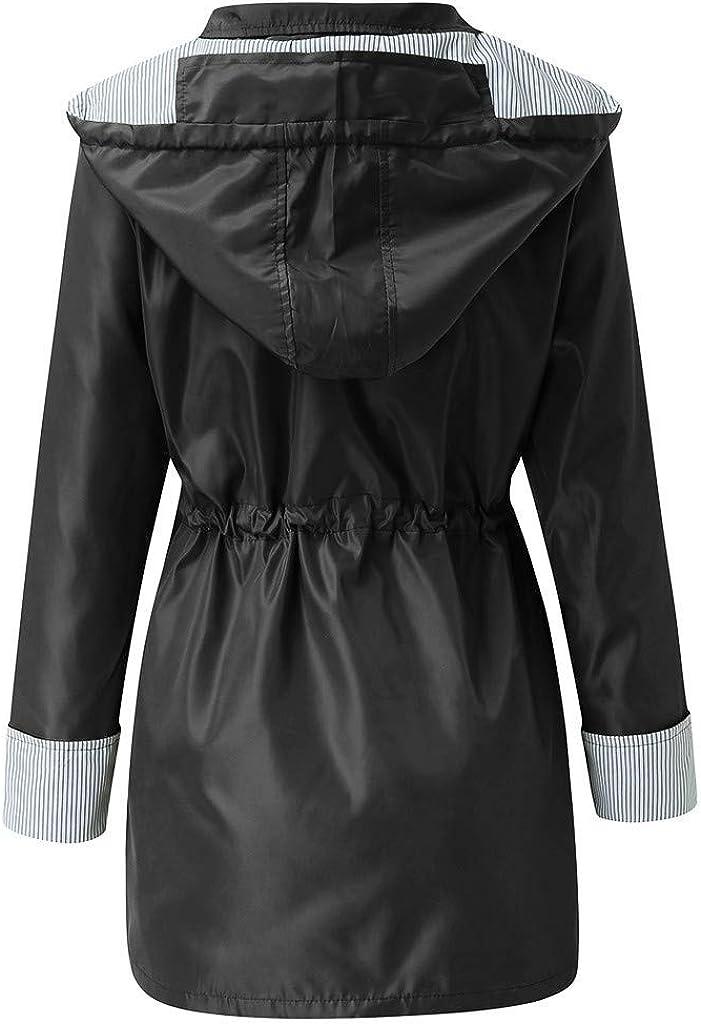 aihihe Womens Raincoats Windbreaker Rain Jacket Plus Size Waterproof Windproof Lightweight Outdoor Hooded Trench Coats