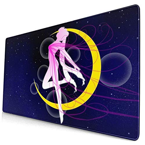 Wtbew-u Gaming Mauspad, Große Mausmatte Sailor Moon rutschfeste Gummiockel, wasserdicht & Faltbare Matte Tastatur Mousepad, Schreibtischmatte, für Desktop, Laptop, Tastatur mehr (15.8x29.5x0.12inch)