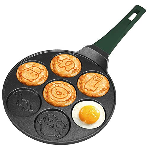 Cainfy Pancake Pan Maker,10.5 Inch 7 Molds Mini Pancake Non Stick Silver Dollar Grill Blini Griddle Crepe Pan, Cake Egg Cooker Skillet for Kids Gifts,100% PFOA Free Coating (Animal Molds)