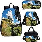 Hobbits 4 en 1 mochila escolar y bolsa de almuerzo, juego de mochilas 4 en 1