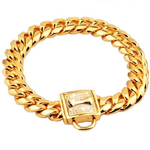 DOGGYZSTYLE Choke Cadenas para Perros Collares de Cadena de Oro de 19 mm de Acero Inoxidable de Lujo Cubano Collar de Perro Collar de Cadena para Perros Grandes y Medianos Rottweiler, Pitbull