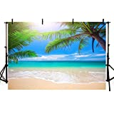 MEHOFOND 7x5ft Summer Beach Backdrop Banner Tropical Seaside Ocean Palm Trees Photography Background for Picture Blue Sea Sky Sunshine Birthday Wedding Party Decorations Photo Booth Studio Props