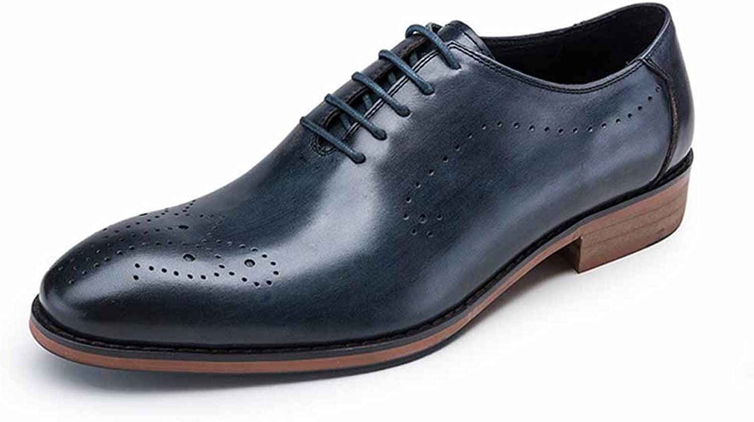 Men Oxford New England Dress shoes Youth Round Head shoes Large Size Lace Up Work shoes Carved Breathable