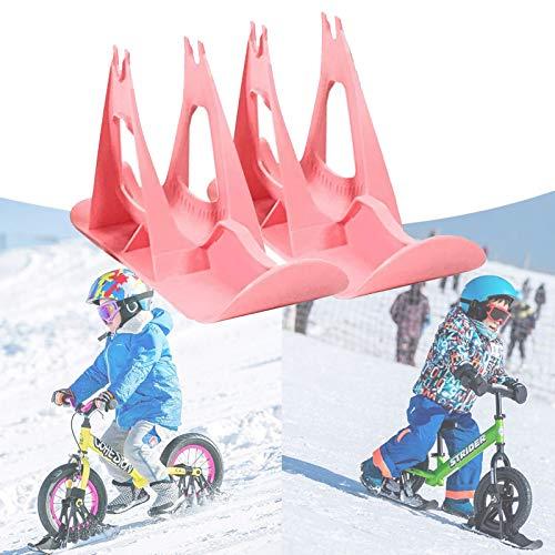 Eortzzpc Snow Sledge Board Set, Fahrrad-ski Walker, Ski Schlitten Für 12 Zoll Balance Bike Scooter Teile Für Kinder, Um Spaß Mit Dem Fahrrad Im Schneeskiland, Snowpark (Color : Pink)