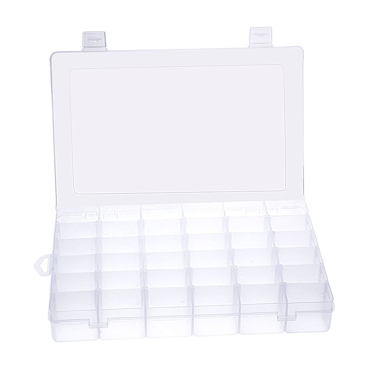 Gospire 36 Grids Clear Plastic Jewelry Box Organizer Storage Container with Removable Dividers