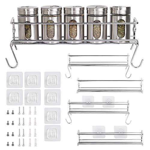 MIXSOUL Gewürzregal/Lagerregal (Metallische Gewürzregal in der Küche), 4 Separate Layers, hängt Sich an der Wand oder an der Schranktür, passend auch auf Badezimmer, handgefertigte Räume