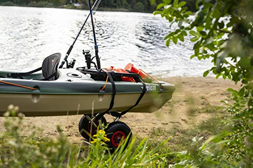 Pelican Boats - Universal Canoe, Kayak & Stand Up Paddle SUP Cart Carrier – PS1439-1 - Fold Together Trolley with Wide… 4 Collapsible – Folds together to easily take along on your trip or store Allows easy transportation of any Canoe, Kayak or Stand Up Paddle Board (SUP) Heavy Duty - Wide inflatable tires -Can carry up to 110 lb