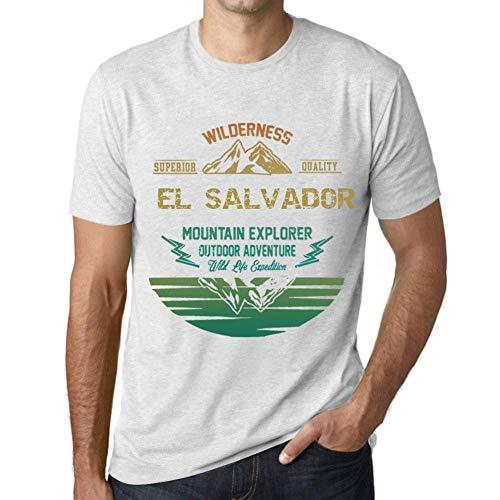 One in the City Hombre Camiseta Vintage T-Shirt Gráfico EL Salvador Mountain Explorer Blanco Moteado