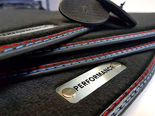 styling-4youcar Performance Fußmatten 5er F10 F11 Bj.10-13 Original Qualität Velours Doppelnaht rot-blau Metal Logo Gummimatten