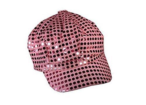 Pink Sparkly Sequin Newsboy Cap Diva Hat Disco Rave Girls Costume