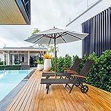 Sonnenliege, Gartenliege klappbar mit Rädern und Armlehne - 7